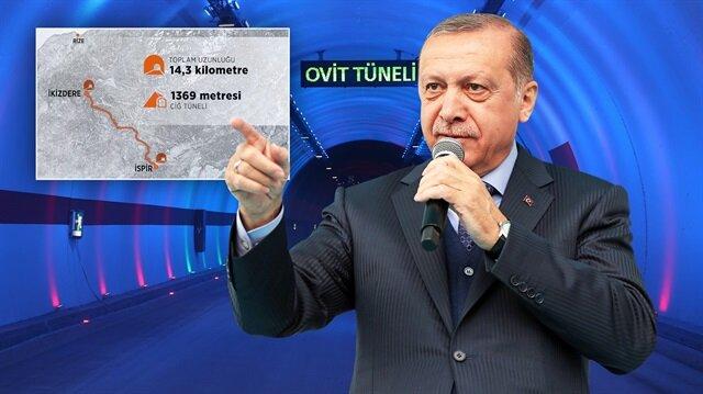 Cumhurbaşkanı Erdoğan Ovit Tüneli'nin açılışında konuşuyor