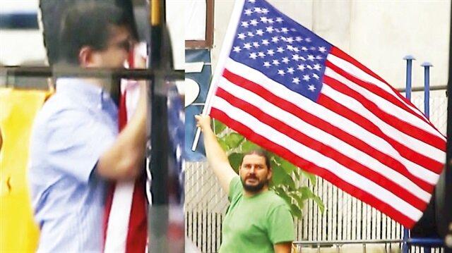Öksüz'ün kayınbiraderi ABD bayrağı öpüyor