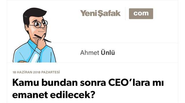 Kamu  bundan sonra CEO'lara mı emanet edilecek?
