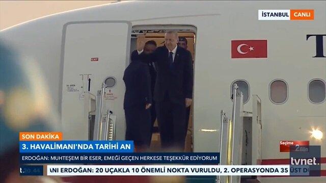 Cumhurbaşkanı Erdoğan Üçüncü Havalimanı'na indi