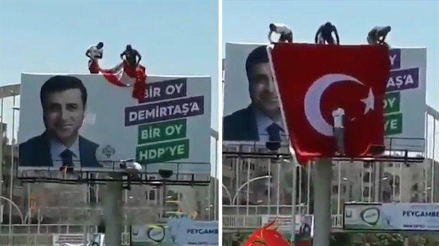 Şanlıurfalılardan Türk bayrağına alerjisi olan HDP'ye şok!