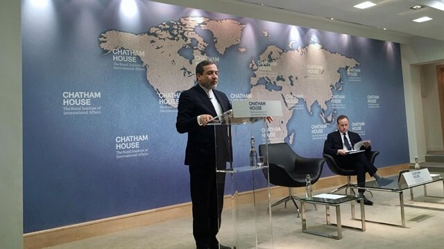 Iran's Deputy Foreign Minister Abbas Araqchi speaking at the Chatham House think tank in London, Britain February 22, 2018.
