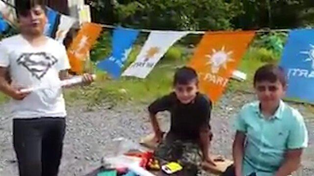 Rizeli küçük çocuklar kendi imkanlarıyla AK Parti'ye oy topluyor