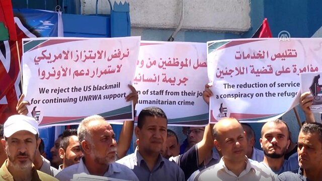 Palestinians protest UNRWA cuts in Gaza
