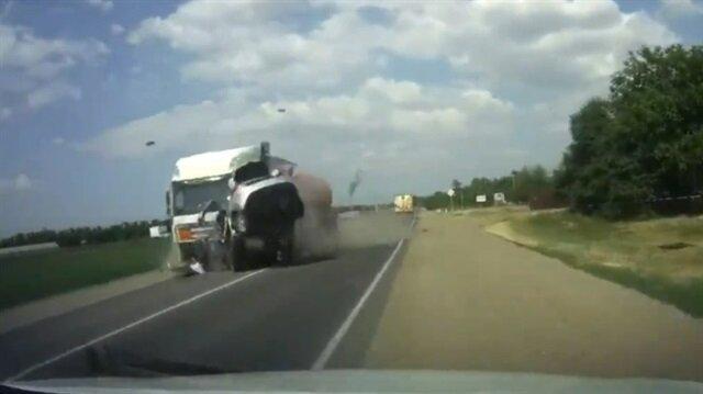 Önce otomobile sonra tankere çarptı