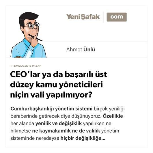 CEO'lar ya da başarılı üst düzey kamu yöneticileri niçin vali yapılmıyor?