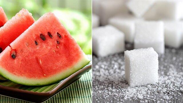 Bir dilim karpuzda 5 adet küp şeker var