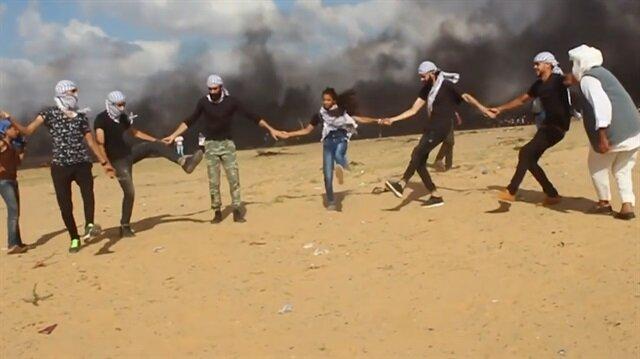 Filistinlilerden eğlenceli protesto