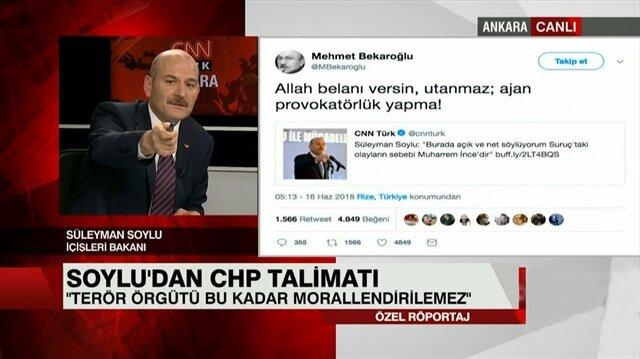 Süleyman Soylu'dan Bekaroğlu'na cevap