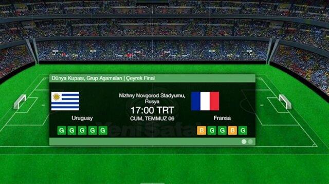 Uruguay Fransa maçı canlı izle.