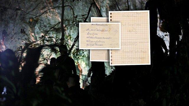 Tayland'da mağarada mahsur kalan çocuklar, ailelerine mektup yazdı...