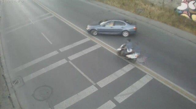 Acemi sürücünün sebep olduğu kaza kamerada