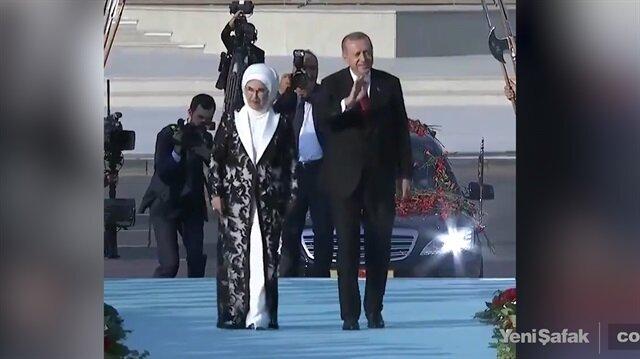 Başkan Erdoğan'a mehter marşlı karşılama