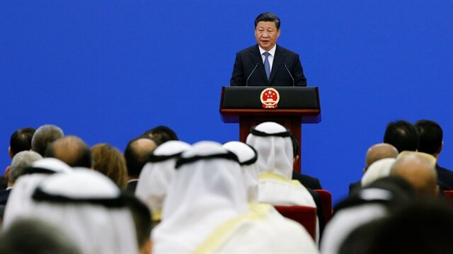 Chinese President Xi Jinping speaks to representatives of Arab League member states at a China Arab forum at the Great Hall of the People in Beijing, China.