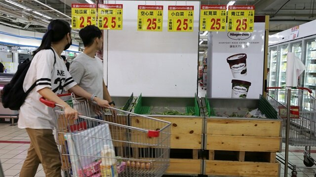 Vegetables are sold out at a supermarket, as residents brace themselves for super typhoon Maria in Taipei, Taiwan.