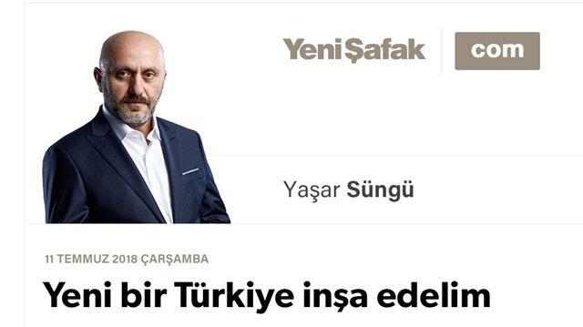 Yeni bir Türkiye inşa edelim