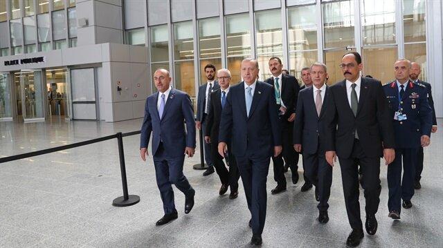 أردوغان والوفد المرافق له في قمة الناتو ببروكسل