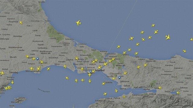 İstanbul hava trafiği yoğunluk haritası