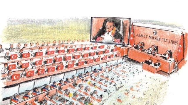 Müştekilerin bulunduğu bölümdeki masalara 34 şehidi temsilen 34 Türk bayrağı yerleştirildi.