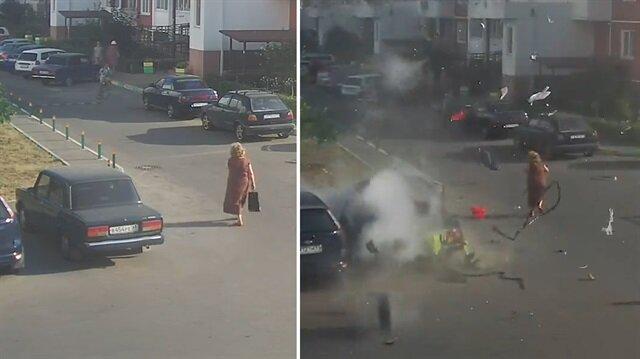 Park halindeki tüplü aracın bomba gibi patladığı an kamerada