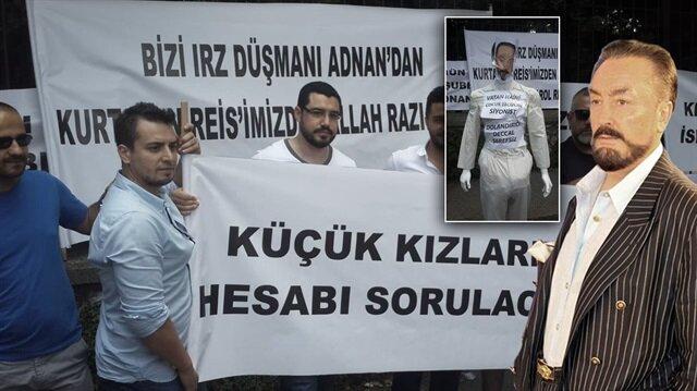 Adnan Oktar mağdurları İstanbul Emniyet'i önünde açıklamada bulundu.