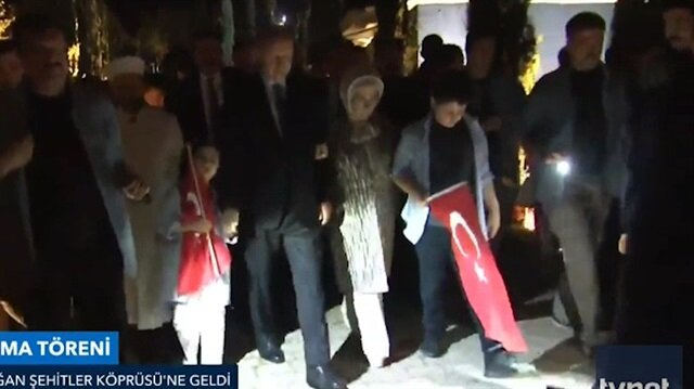 Başkan Erdoğan Şehitler Köprüsü'ne böyle geldi