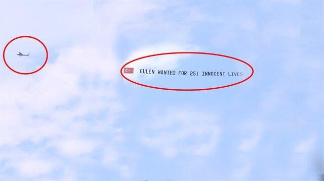 Pensilvanya semalarında uçan uçaklarda FETÖ'cüleri çıldırtan pankartlar