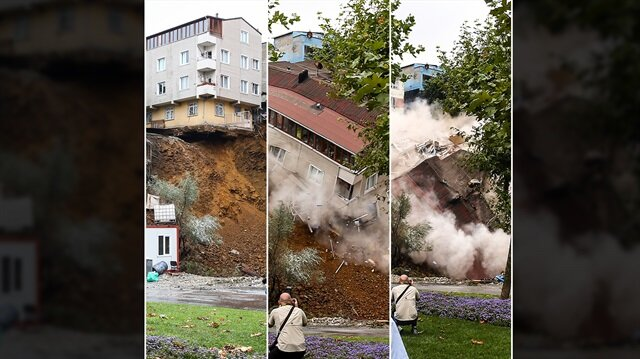 Beyoğlu'ndaki kayan 4 katlı bina çöktü