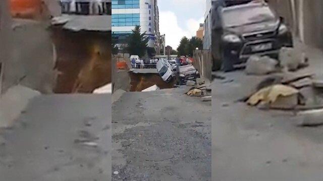 Ümraniye'de araçlar çukura böyle düştü