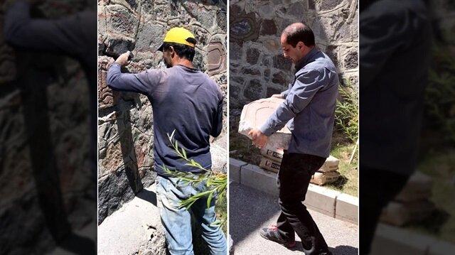 Erzurum'da bir okul duvarında bulunan Arapça yazılı taşlar korumaya alındı.