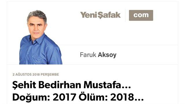 Şehit Bedirhan Mustafa… Doğum: 2017 Ölüm: 2018…
