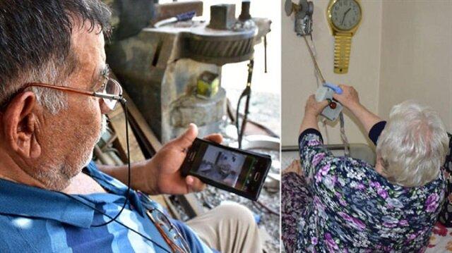 Şevket Kaykı'nın kurduğu elektronik düzenekler, eşinin yerinden kalkmadan hayatını sürdürmesini sağlıyor.