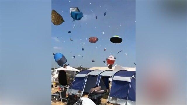 Rüzgar çadırları böyle uçurdu