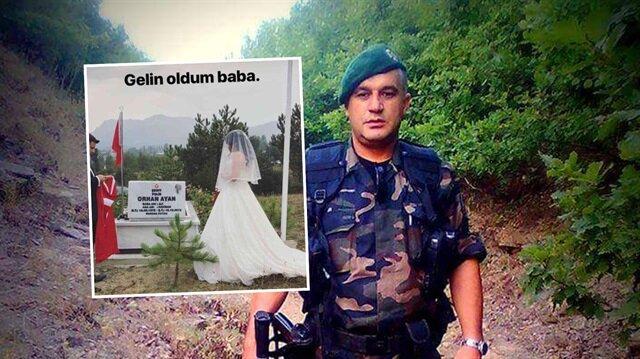 Şehit Orhan Ayan'ın kızının gelinlikle babasının kabir başında verdiği poz ve yazdığı not görenleri duygulandırdı.