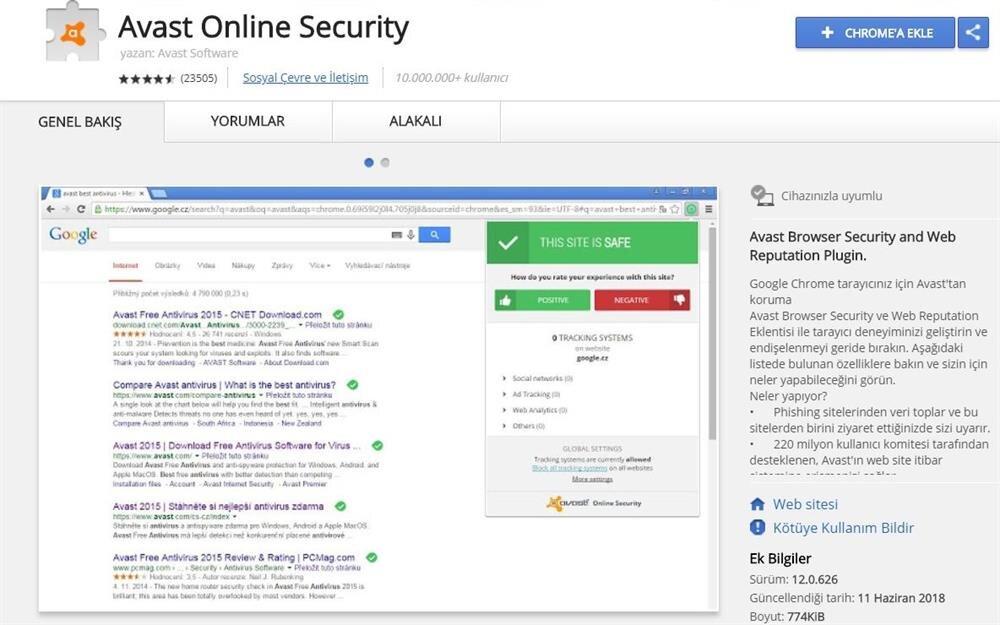 Avast Online Security, özellikle phishing saldırılarına karşı güvenliği üst düzeye çıkarıyor.
