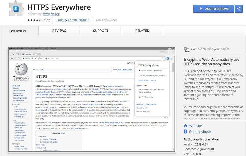 HTTPS Everywhere, HTTP siteleri HTTPS versiyonlarıyla değiştirerek daha güvenli bir internet kullanımı sağlıyor.