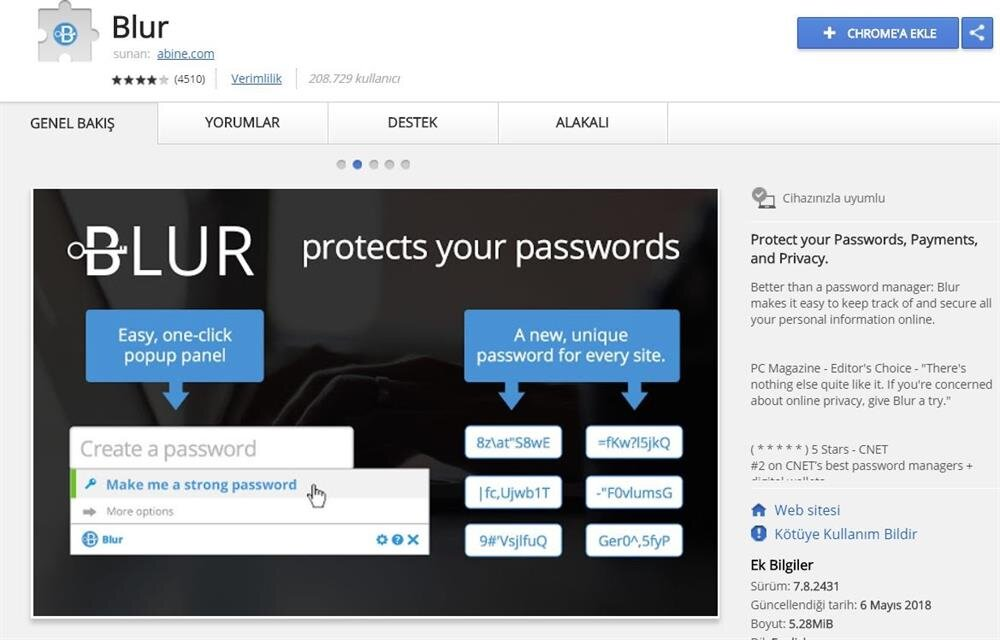 Blur eklentisi basit bir yöntem sayesinde şifre girilen alanları ya da formları bulanıklaştırarak güvenliği artırıyor.