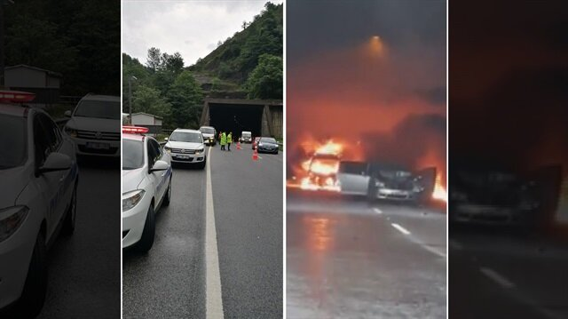 Ordu'daki tünelde meydana gelen kazanın ardından polis ekipleri yolu trafiğe kapatıldı.