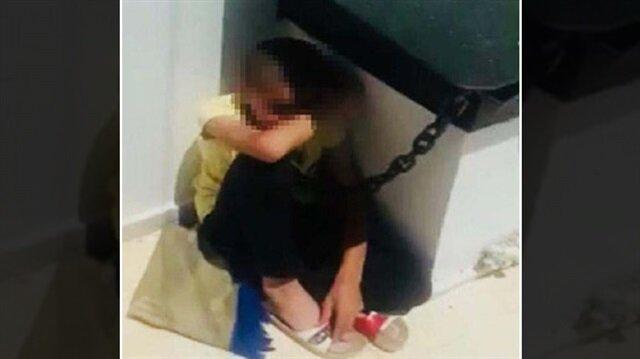 Urfa'da bacaya zincirle bağlanan çocuk olay yerine gelen polislerce kurtarıldı.