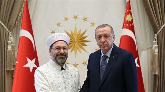 أردوغان في استقبال رئيس الشؤون الدينية