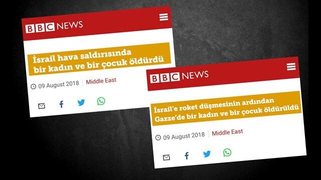 İsrail kızdı BBC anında başlık değiştirdi