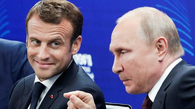 Russian President Vladimir Putin and his French counterpart Emmanuel Macron