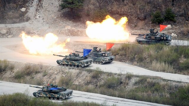 File Photo: South Korean Army K1A1 and U.S. Army M1A2 tanks fire live rounds during a U.S.-South Korea joint live-fire military exercise, at a training field, near the demilitarized zone, separating the two Koreas in Pocheon, South Korea.