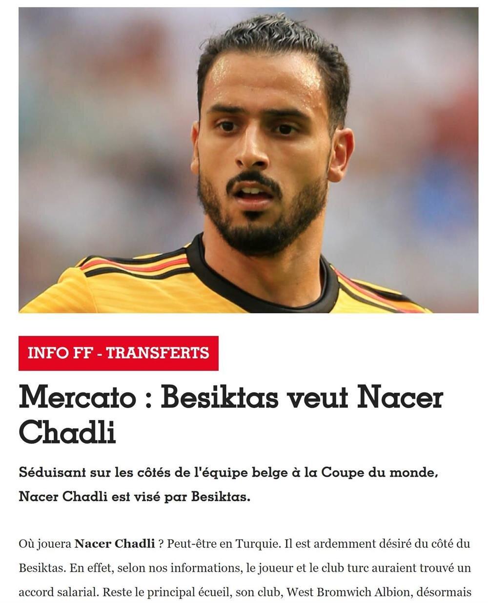 France Football, Beşiktaş'ın Chadli ile yıllık ücret konusunda anlaşma sağladığını duyurdu.