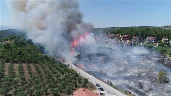 Bursa'da orman yangını evlere yaklaştı.