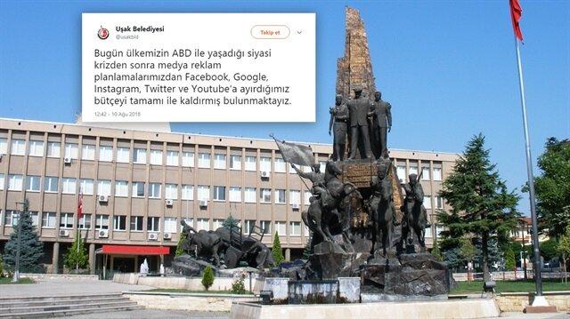Uşak Belediyesi, Türkiye ile ABD arasındaki yaşanan olaylar üzerine bazı Amerikan şirketleriyle çalışmasını durdurdu.