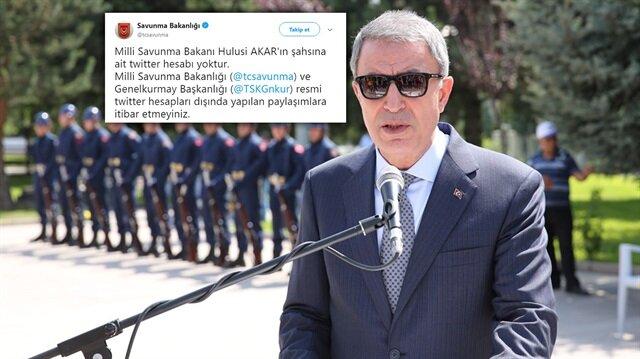 Milli Savunma Bakanlığı, Bakan Akar'ın sosyal medya hesaplarına dair açıklama yaptı.