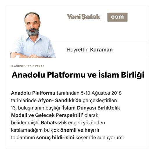 Anadolu Platformu ve İslam Birliği