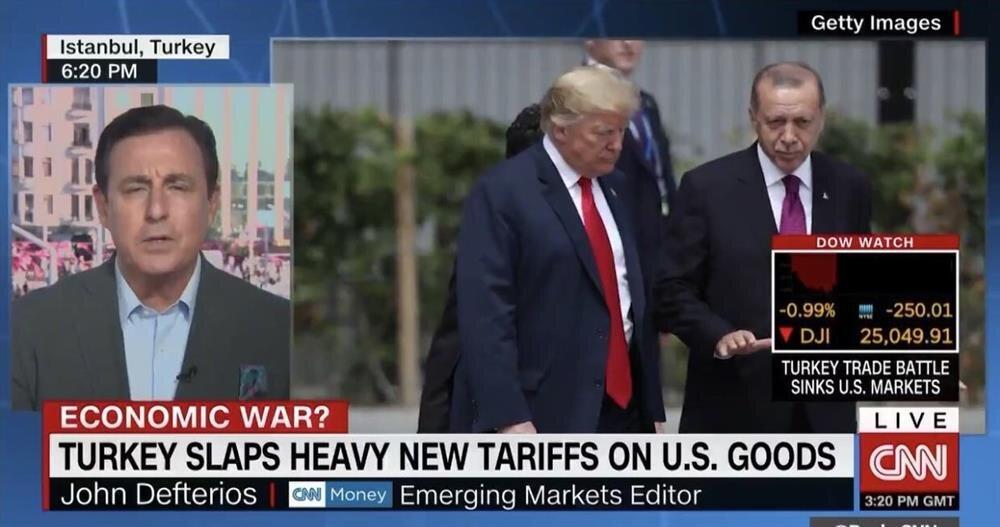 سي إن إن: الحرب التجارية على تركيا ضربت بورصة الولايات المتحدة.
