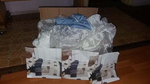 TV'de gördüğü nevresim takımını almak için sipariş verdi, gelen kutudan eski çarşaflar çıktı.